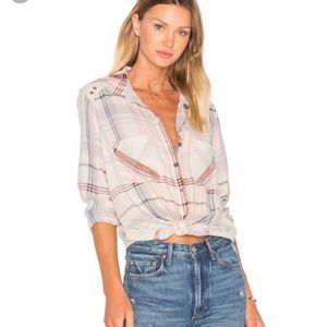 Free People Wesley Plaid Button Down Shirt Top XS